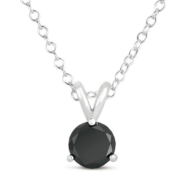0.35ct Black Diamond Solitaire Pendant Necklace 14k White Gold + CHARM BRACELET (K1050-035WB-PROMO)