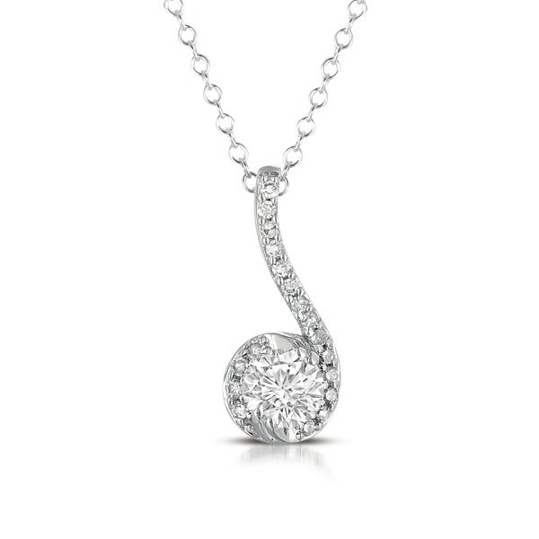 0.33 ct Round Diamond Halo Musical Note 14k White Gold Pendant & Necklace + GIFT (K1247-033W)