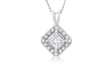 0.25 ct Princess Diamond Solitaire Halo 14k White Gold Pendant & Necklace Set (K1296-025W)