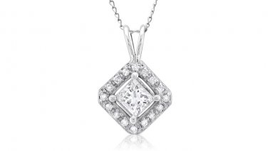 0.50 ct Princess Diamond Solitaire Halo 14k White Gold Pendant & Necklace Set (K1296-050W)