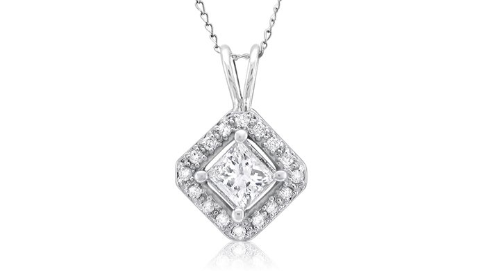 0.75 ct Princess Diamond Solitaire Halo 14k White Gold Pendant & Necklace Set (K1296-075W)