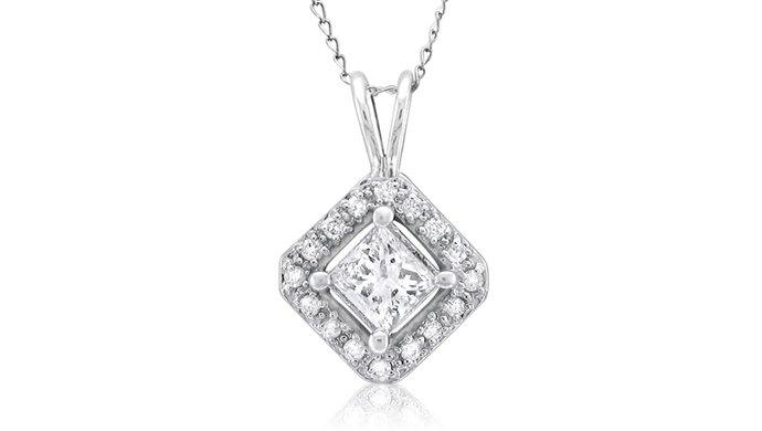 1 ct Princess Diamond Solitaire Halo 14k White Gold Pendant & Necklace Set (K1296-100W)