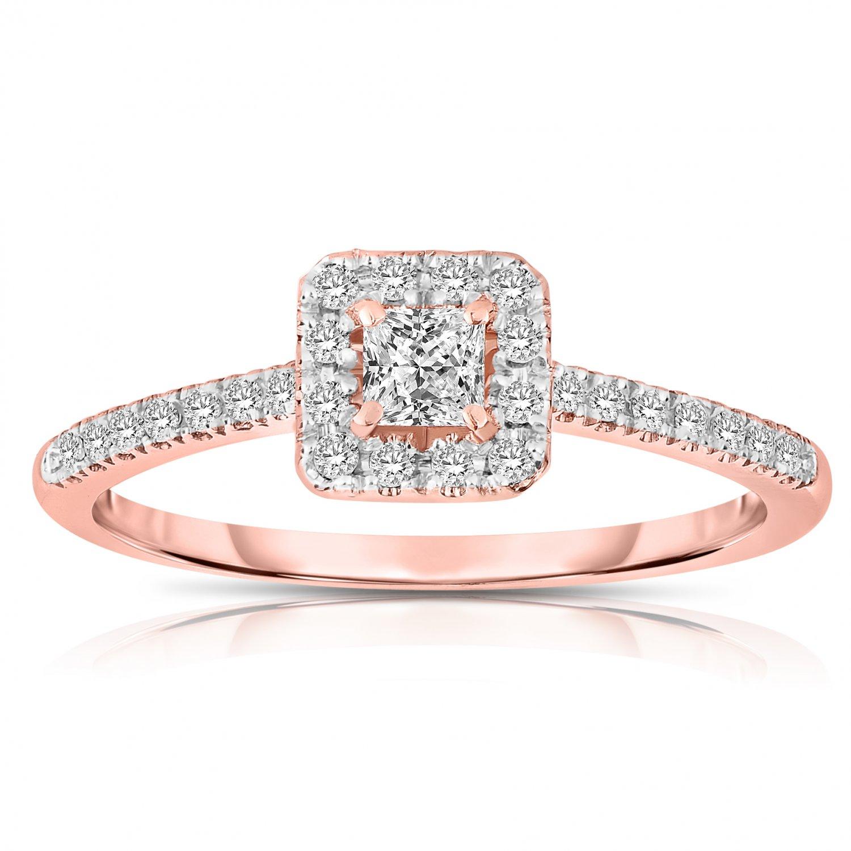 0.50 ct Princess Diamond Halo Bridal Engagement Ring 14k Rose Gold SALE (ER1375-PC-050RG-PROMO)
