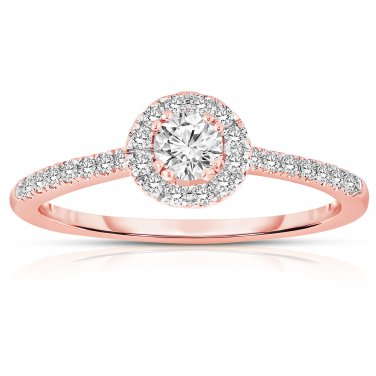 0.50 ct Round Diamond Halo Cluster Bridal Engagement Ring 14k Rose Gold SALE (ER1375-RD-050RG-PROMO)