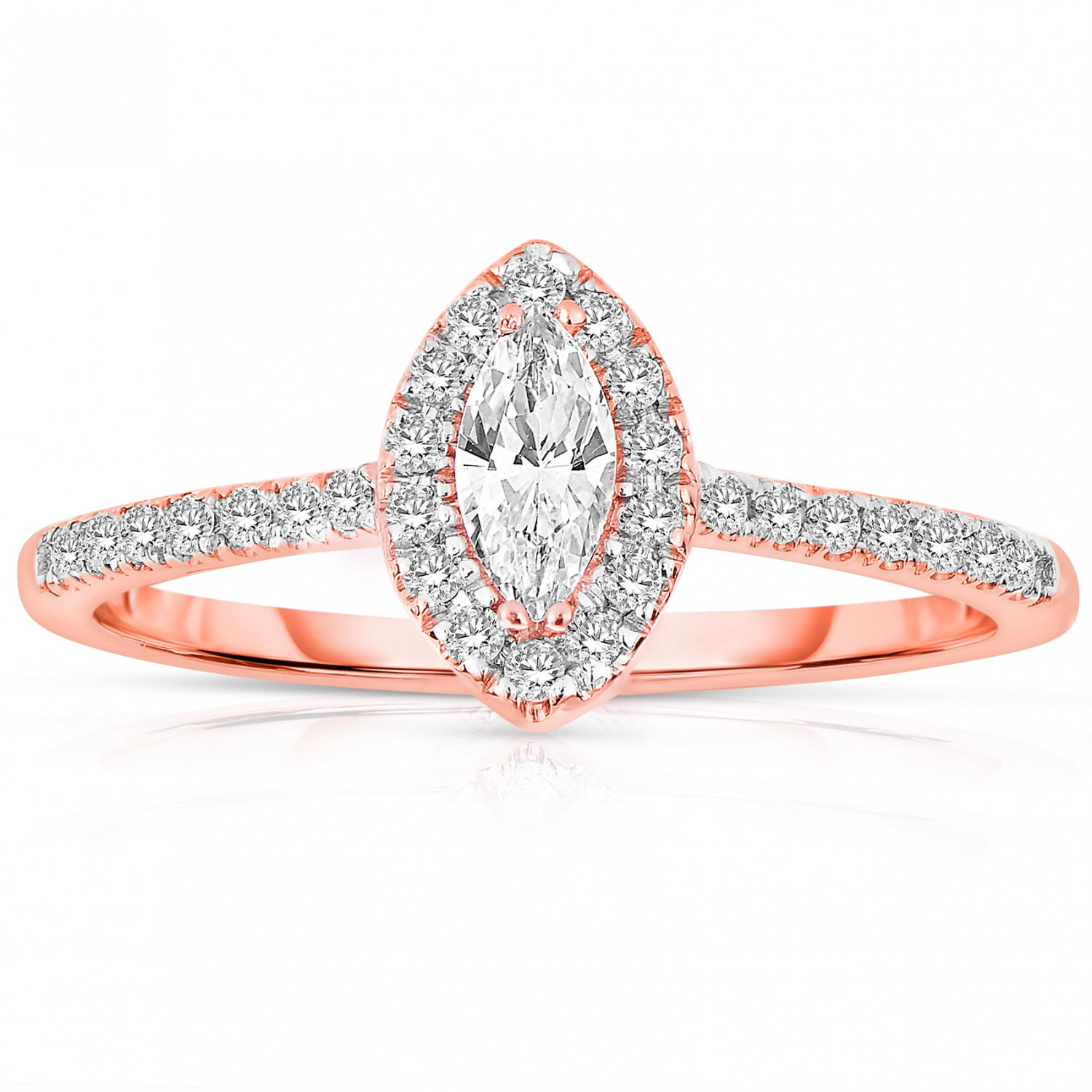 0.50 ct Marquise Diamond Halo Bridal Engagement Ring 14k Rose Gold SALE (ER1375-MQ-050RG-PROMO)