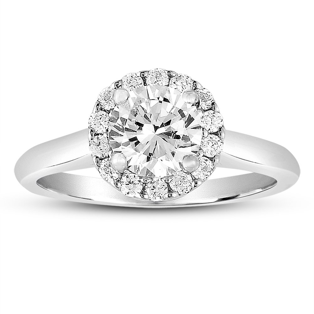 1 ct Round Halo Cluster Diamond Bridal Wedding Engagement Ring 14k White Gold (ER1356-RD-100W)