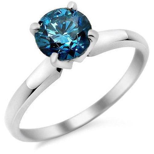 1ct Blue Round Diamond Solitaire Love Bridal Engagement Ring 14k White Gold SALE (TSR100WBL-PROMO)