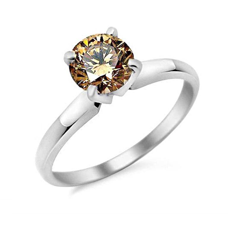 0.75 ct Chocolate Brown Diamond Solitaire 14k White Gold Engagement Ring SALE (TSR075WBR-PROMO)