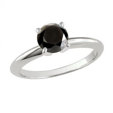 2 ct Round Black Diamond Solitaire Bridal Prong Engagement Ring 14k White Gold (TSR200WB)