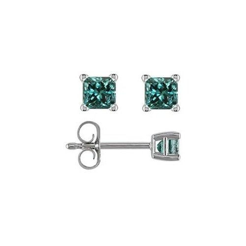 0.33 ct Blue Diamond Princess Solitaire 14K White Gold Basket Stud Earrings (E1243-PC-033WBL)