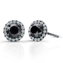 0.50 ct Black Round Diamond Halo Cluster Stud Earrings Set 14k White Gold (E1295-050WB)