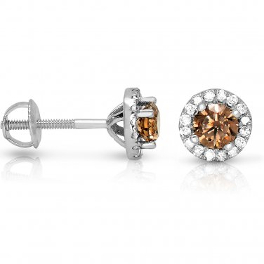 0.50 ct Chocolate Brown Round Diamond Halo Cluster Stud Earrings 14k White Gold (E1295-050WBR)