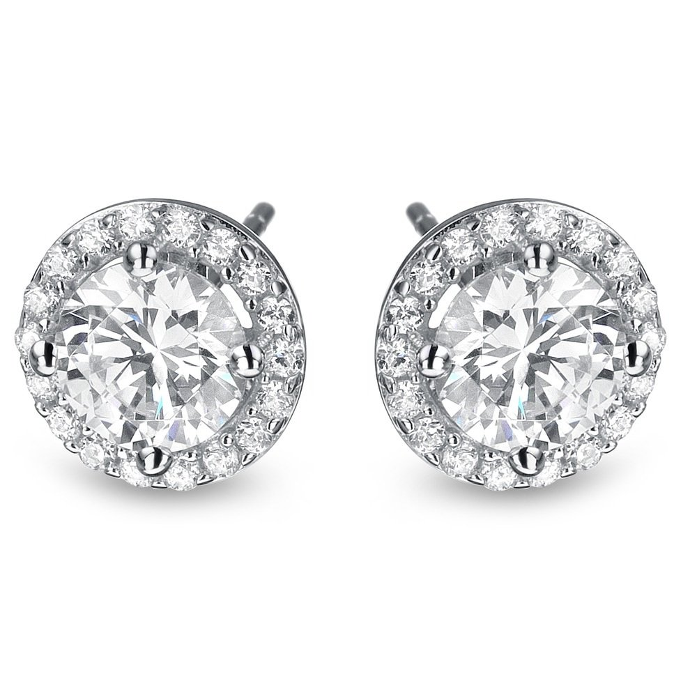 2 ct Round Diamond Halo Cluster Elegant Stud Earrings Set 14k White Gold (E1295-200W)