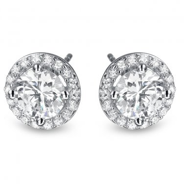 2 ct Round Diamond Halo Cluster Elegant Stud Earrings Set 14k White Gold (E1295-200W)