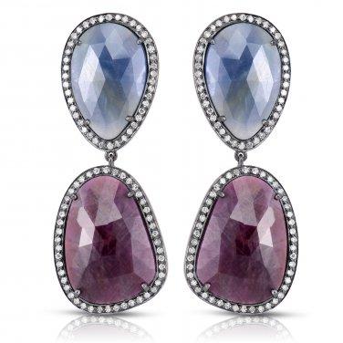 52.47 ct Sapphire Slices Birthstone & Diamond Halo Dangle Drop Silver Earrings (CS-1)