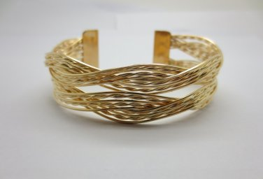 Yellow Gold Plated Braided Bracelet Cuff Bangle Designer Inspired + FREE GIFTS (BRAIDEDBRAC)