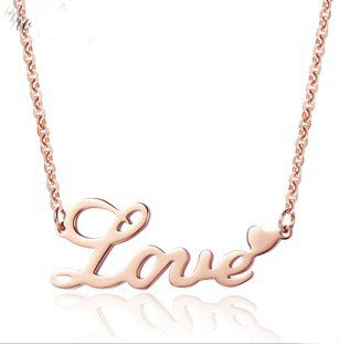 "Rose Gold Plated ""LOVE"" Letters Charm Heart Necklace Pendant Rope Chain Set (RGPLOVENECK)"