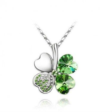 Four Heart Leaf Green Clover White CZ Stones Pendant Necklace Set Silver Plated (CLGRENECK)