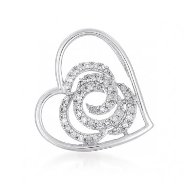 Sterling Silver Plated Heart Love Round CZ Cluster Swirl Pendant + Necklace Set (PT929)