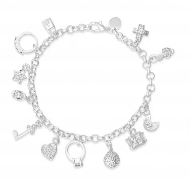 Sterling Silver Plated Heart Engagement Ring Star Moon Cross Love Charm Bracelet (CHARMBRACWG)
