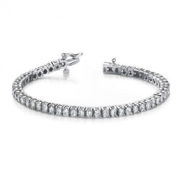 3 ct Round Diamond Basket Prong Eternity Tennis Bracelet Box Clasp 14k White Gold (B1009-300W)
