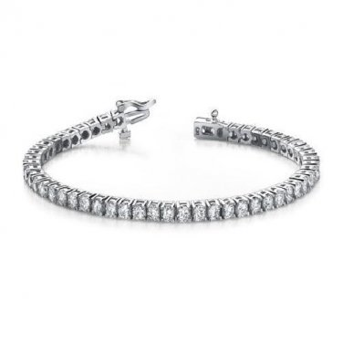 1 ct Round Diamond Basket Prong Eternity Tennis Bracelet Box Clasp 14k White Gold (B1009-100W)