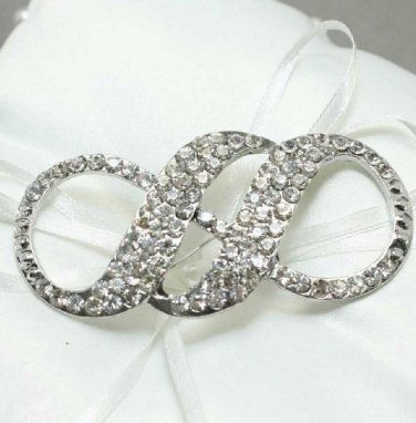 Stunning Butterfly Gown Belt Craft Crystal Silver Bridal Wedding Brooch Pin