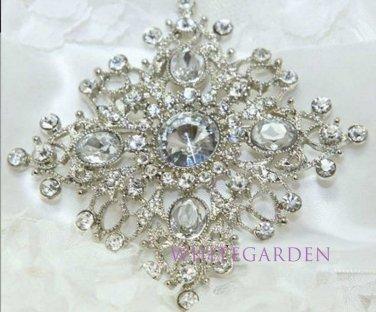 New Crystal Rhinestone Bridal Bride Wedding Dress Sash Cake Rhombus Brooch Pin