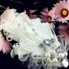 FREE SHIP- Silk/Feather Flower Peacock Lace Bridal Wedding Party Birdcage veil/Hair Clip