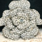Large Crystal Rhinestone Bridal Rose Flower Wedding Cake Silver Brooch Pin 3""