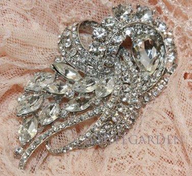 Vintage Dress Crystal Rhinestone Bridal Wedding Hair Buckle Metal Brooch Pin