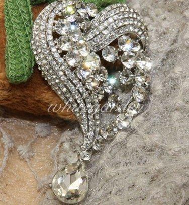 Dangle Heart Teardrop Crystal Rhinestone Bridal Wedding Hair Brooch Pin