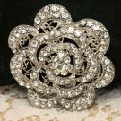 Crystal Rhinestone Bridal Wedding Lace Rose Cake Jewelry Belt Buckle Brooch Pin
