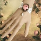 FREE SHIP - Lace Pink Rose Gothic Bracelet Goth Victorian Lolita Steampunk Rococo