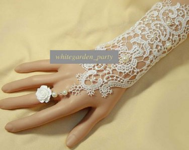 Cream White Lace Gothic Bracelet /Gloves Goth Victorian Lolita Steampunk Rococo