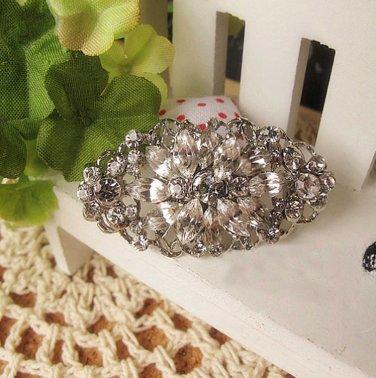 FREE SHIP - Crystal Rhinestone Bridal Bride Wedding Dress Sash Cake Oval Brooch Pin