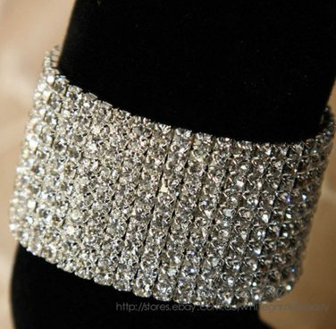 Austria Rhinestone Crystal Wedding Stretch 11 Rows Bracelet Bouquet Flower Stem