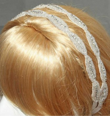 Bridal Wedding Applique Handmade Embroidery Rhinestone Crystals Double Ribbon Headband