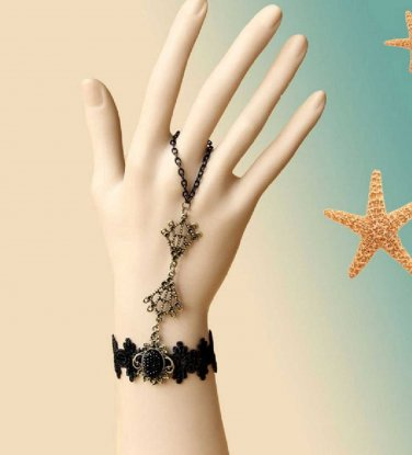 Black Vintage Lace Victorian Goth Cocktail Party Bridal Bracelet