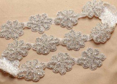 1 yard Rhinestone Crystal Dress Sash Iron/Sew on Applique Trim