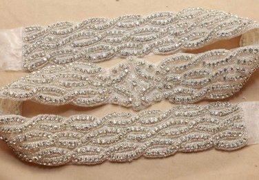 FREE SHIP - Crystal Rhinestone Long Applique Wedding Bridal Glass Iron Sew on Applique Trim
