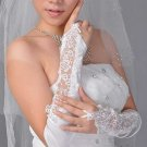 Wedding Bridal Lace white Lace Floral Satin Gloves