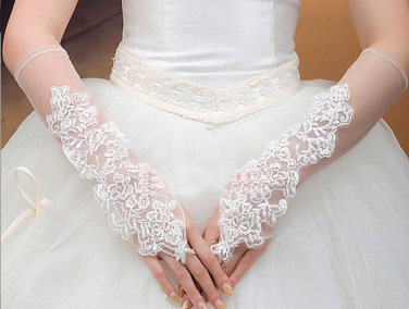 Snow White Satin Beaded Sequin Wedding Bridal Double Lace Cotton Gloves