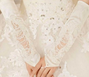 FREE SHIP - White / Ivory Satin Beaded Pearl Sequin Long Wedding Bridal Lace Cotton Gloves