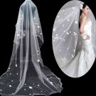 3m ♥ Off White Cathedral Veil Lace Wedding Bridal With Flowers 1T