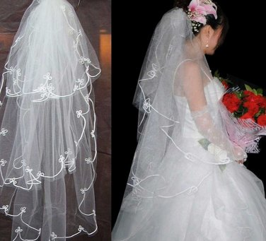WEDDING BRIDAL BRIDES ORGANZA OFF WHITE LACE TULLE EDGE VEIL 3 Tier