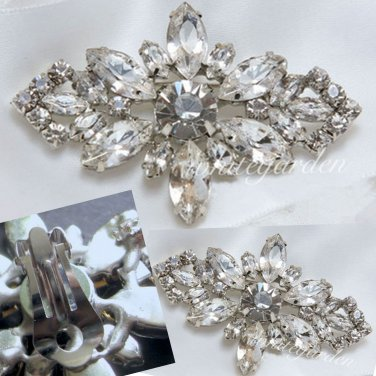 FREE SHIP - Rhinestone Crystal Rhombus Silver Wedding Bridal High Heel Shoes clips - a pair