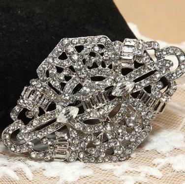 Rhinestone Crystals Vogue Rhombus Bridal Wedding Buckle Silver Plated Brooch Pin