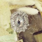 Mini Oval Glass Crystal Rhinestone Wedding Bridal Bride Sash Brooch Pin