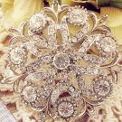 Round Cake Glass Crystal Rhinestone Wedding Bridal Bride Sash Brooch Pin
